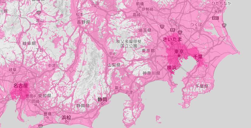 楽天モバイルの対象エリアは濃いピンクをしている